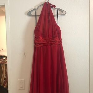 Red Halter Flare Dress